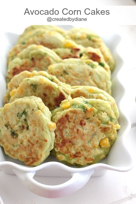{my notes: omitted SP, used coconut oil in place of butter, added a little onion/garlic powder, hemp milk in place of cows milk, and used green onion instead of scallions since that's what I had on hand. Yum! Babies liked a lot}Avocado Corn Cakes from @createdbydiane