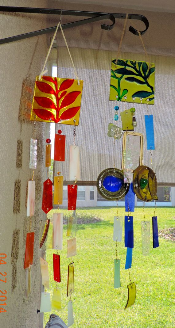 Fused Glass mobile/windchime two color options by MosaicsofGlass, $44.95