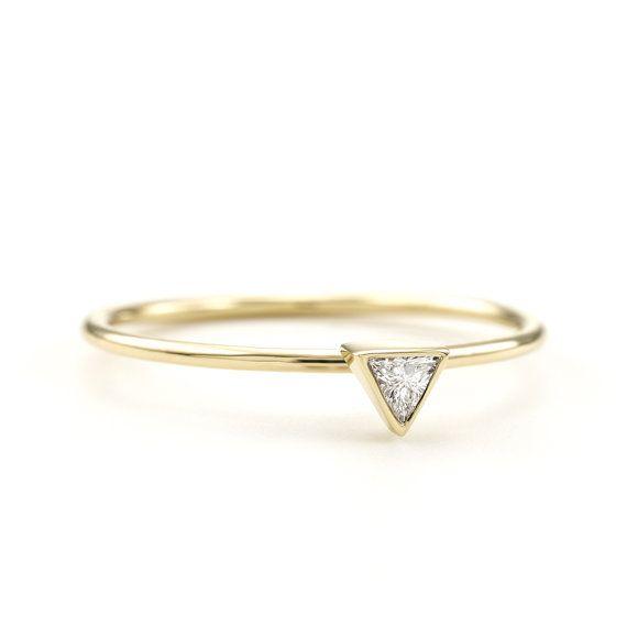 Minimal Trillion Diamond Ring / Triangular Solitaire by KATjDesign