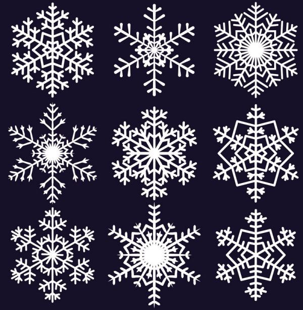 Free EPS File Different Snowflake Pattern Mix Vector Graphics 40 Inspiration Snowflake Patterns