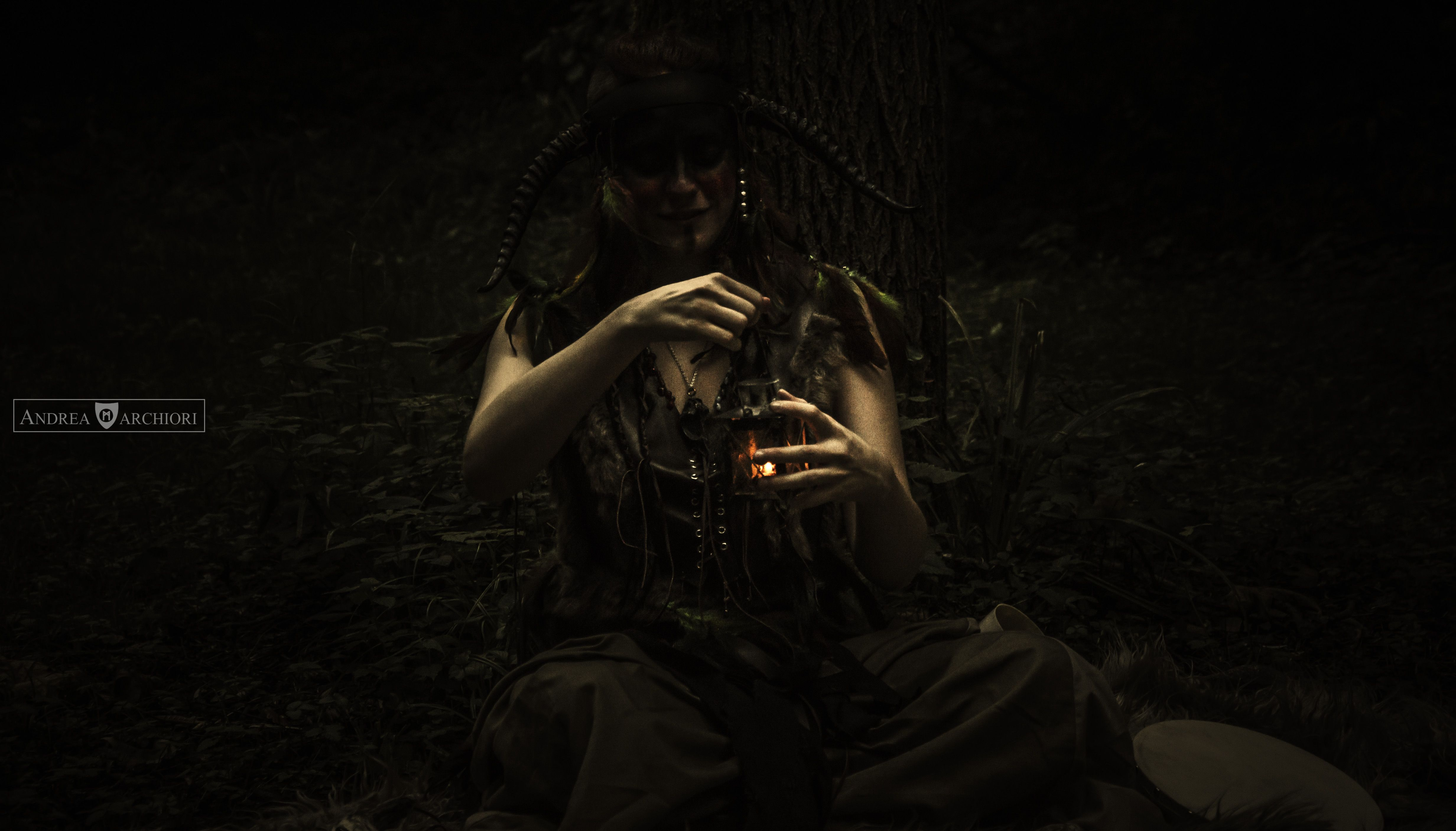 """""""The Ritual""""  First photo of the photoset taken this weekend with my shaman costume in the wood!  A big thank to the Photographer Andrea Marchiori (his facebook page here: https://www.facebook.com/Andreamarchioriphoto?fref=ts ) and all the assistants!  Other costumes here: https://www.facebook.com/thegoldenvalkyrie07?fref=ts  #costume #Shaman #photo #lantern #ritual #wood #spirits #darkness"""