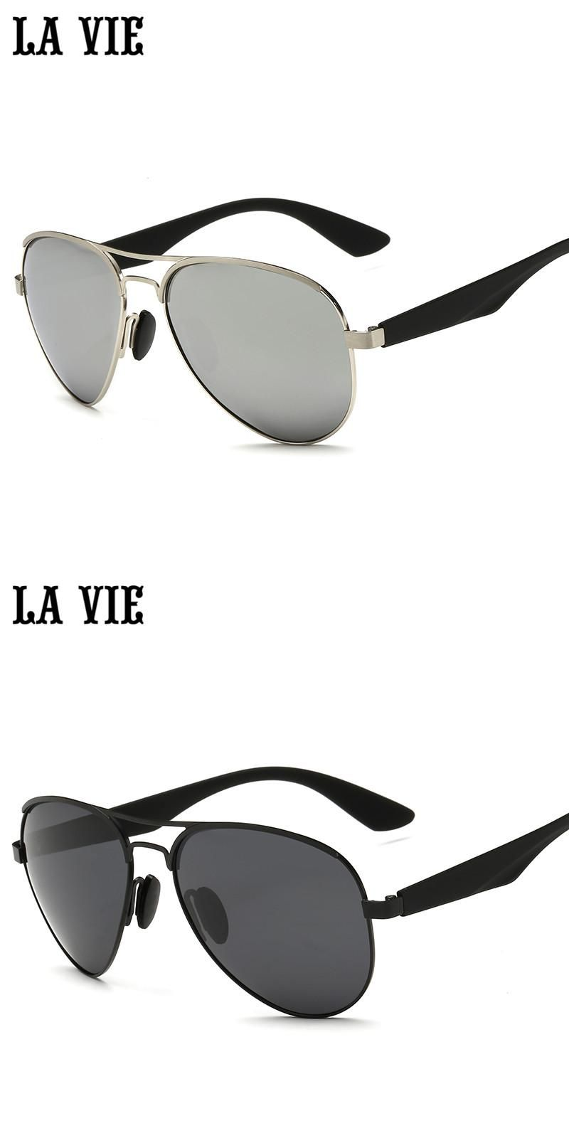 f58385bedc4 LA VIE Polarized Pilot Style Men Sunglasses Fashion Alloy Frame Design  Plastic Leg Male Coating Sun