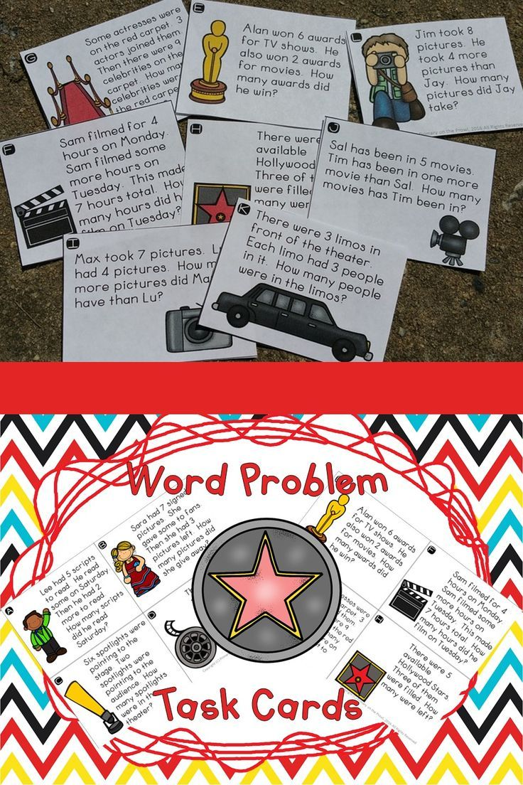 Hollywood-Movie Theater Problem Solving- Single Digits- Task Cards ...