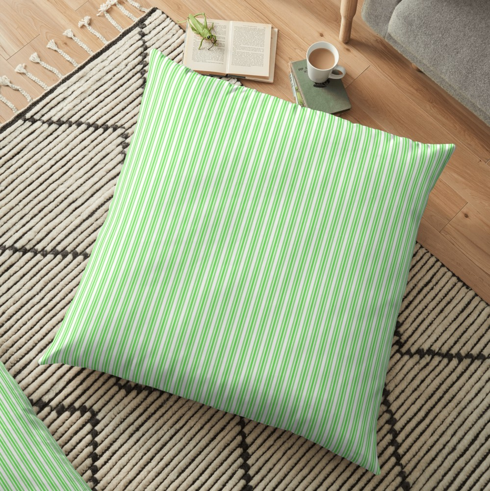 'Classic Small Lime Margarita Green French Mattress Ticking Double Stripes' Floor Pillow by honorandobey #limemargarita