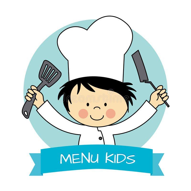 Illustration About Little Chef Boy Child With Kitchen Utensils