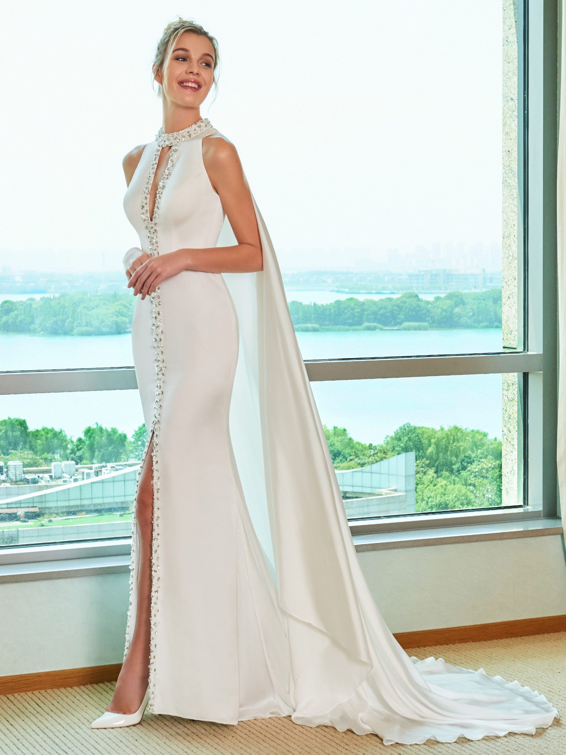 Country dresses for wedding party  Mermaid SplitFront Beading Wedding Dress with Train  The Dress