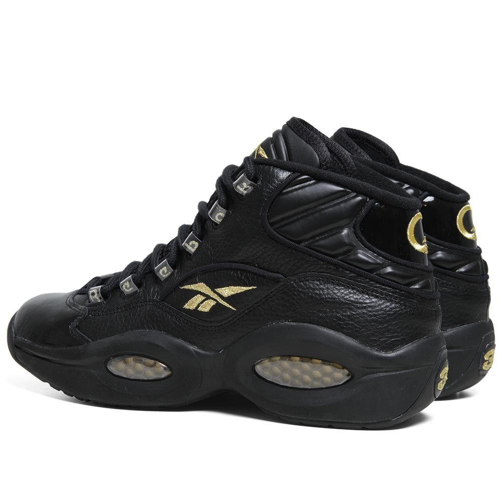 reebok question mid nye black and gold allen iverson