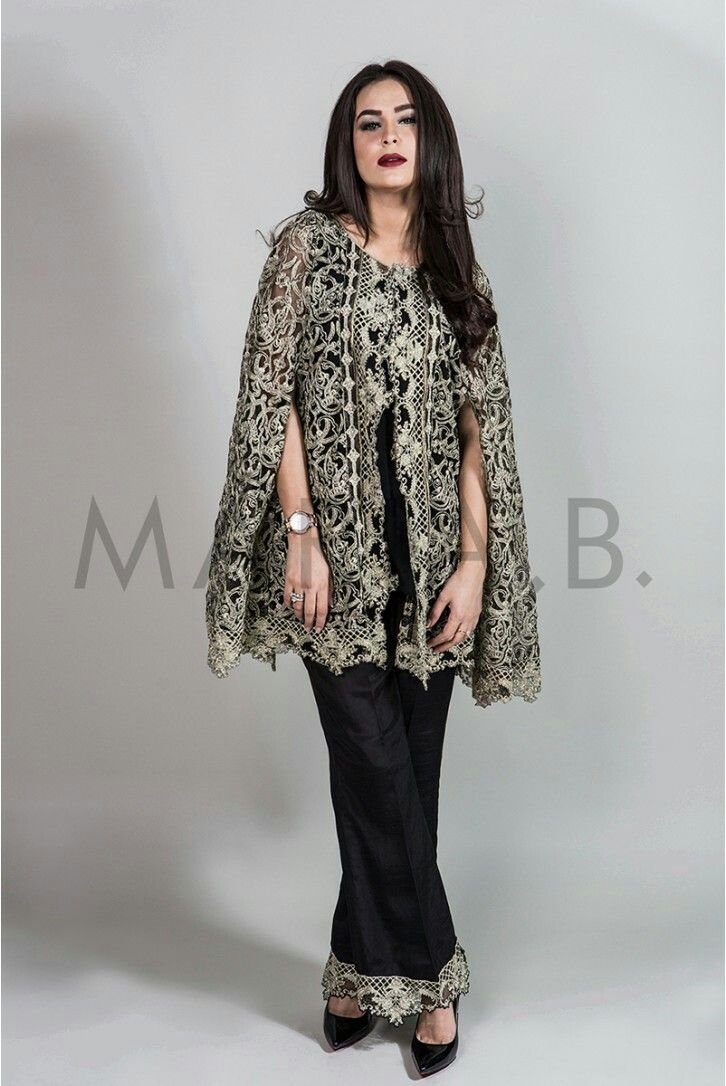 Shirt design girl pakistani - Pakistani Designer Maria B Cape Shirt With Trouser