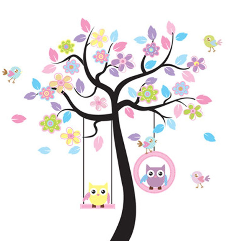 Nursery kids owl swing tree wall art room decor removable mural nursery kids owl swing tree wall art room decor removable mural decal sticker amipublicfo Image collections
