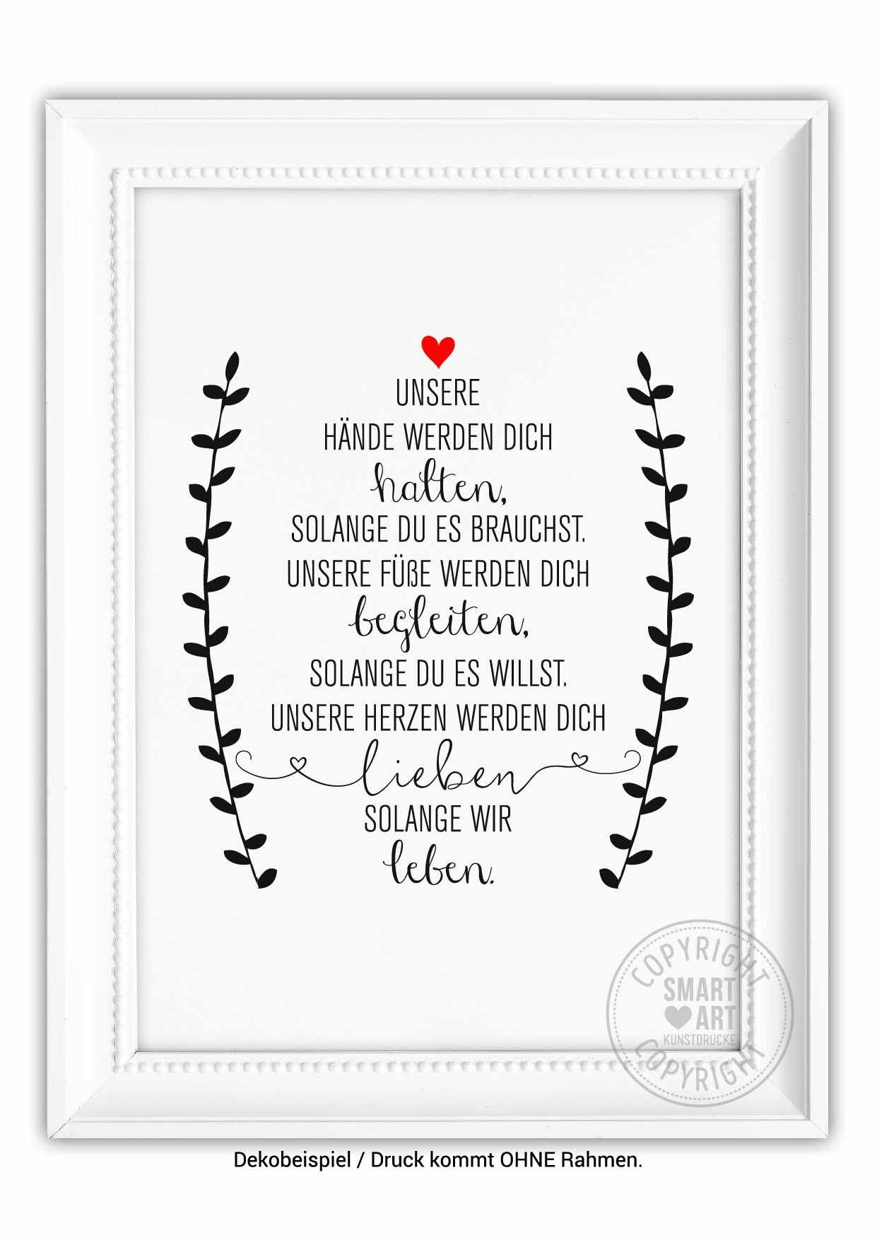 Wir lieben Dich Smart Art Kunstdrucke Geschenk Poster Bild Kunst Taufe Deko Kinderzimmer Geburt