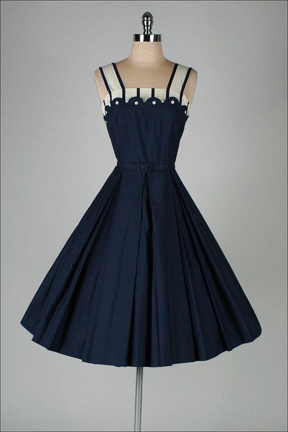 a07a4a90a22 r e s e r v e d     vintage 1950s dress . MYRON HERBERT . cotton 2 ...