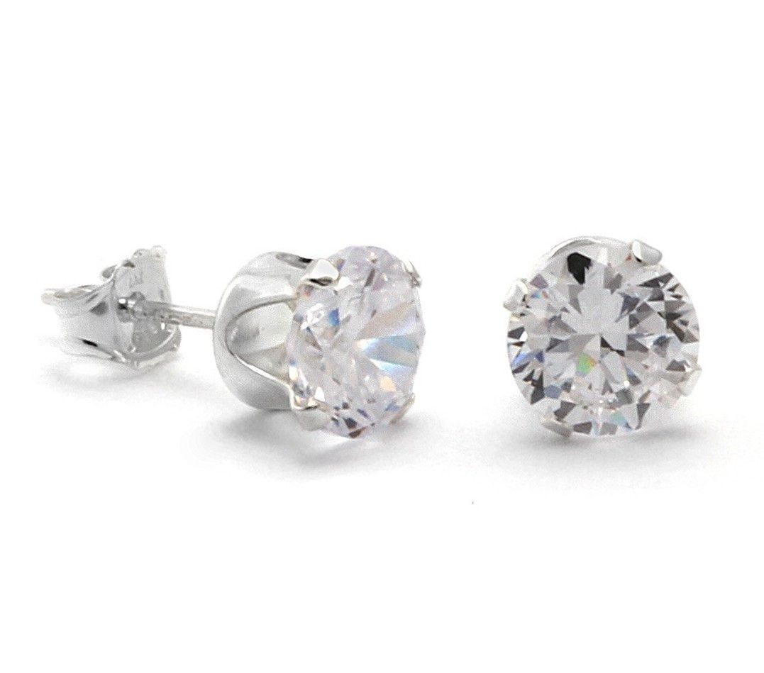 0.10 Ct Round Cut Simulated Diamond Hoop Earrings 10K White Gold