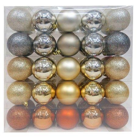 50ct 70mm Metallic Shatterproof Christmas Ornament Set