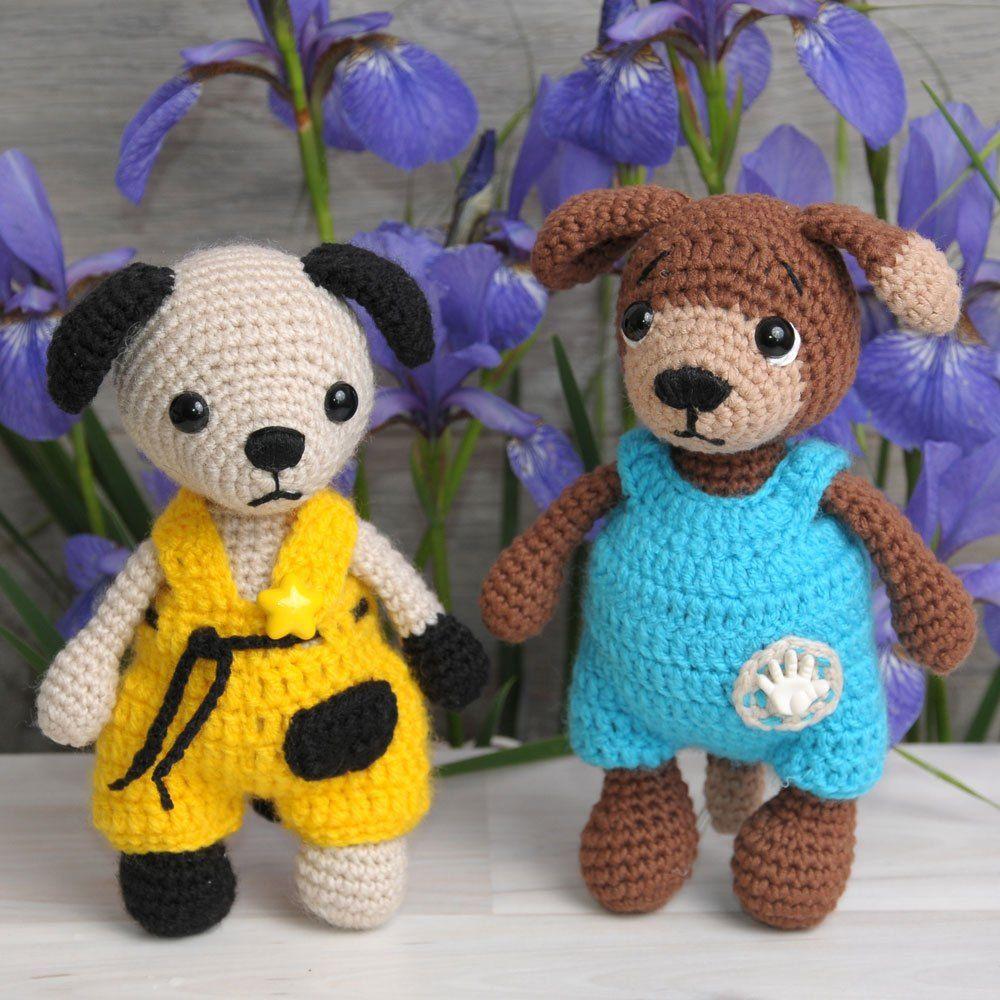 Crochet dogs in overalls - Free amigurumi patterns