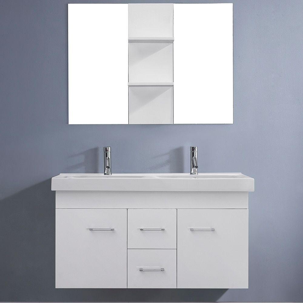 Virtu USA Opal Inch White Double Sink Vanity Set In Opal - Bathroom vanities two sinks