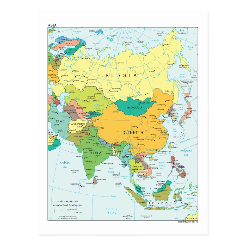 Asia Continent Map Postcard