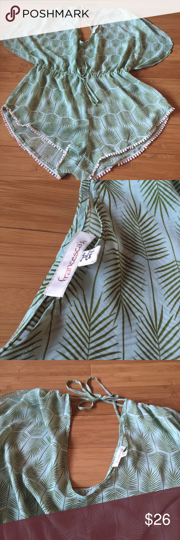 44fac9b14a Francesca s swim cover up green palm leaves M   L Gorgeous romper swim  cover up from Francesca s. it s labeled a M L and the waist is adjustable.