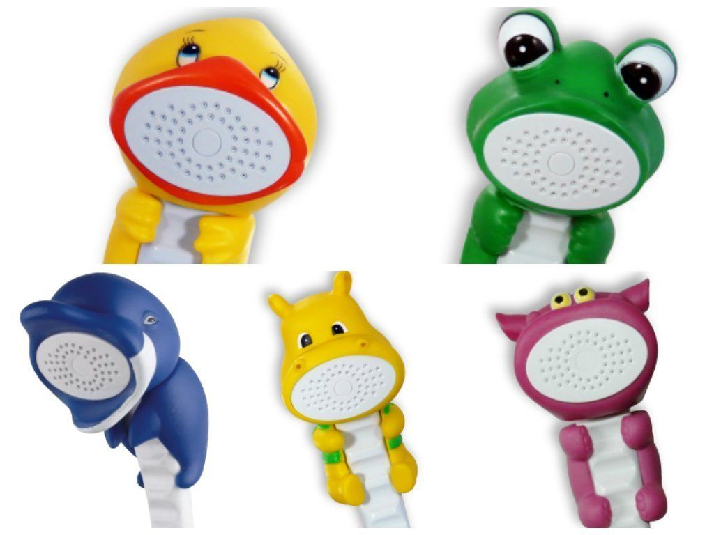 Bath Shower Wands For Children Kit Includes Adorable Handheld Character Wand Movable Mount With Rubber