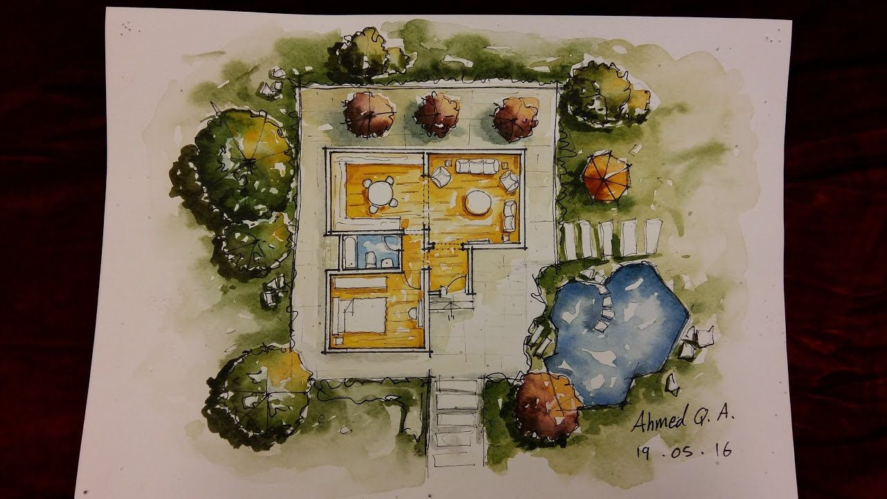 Ground Floor Plan Rendering By Watercolour Rendered Floor Plan