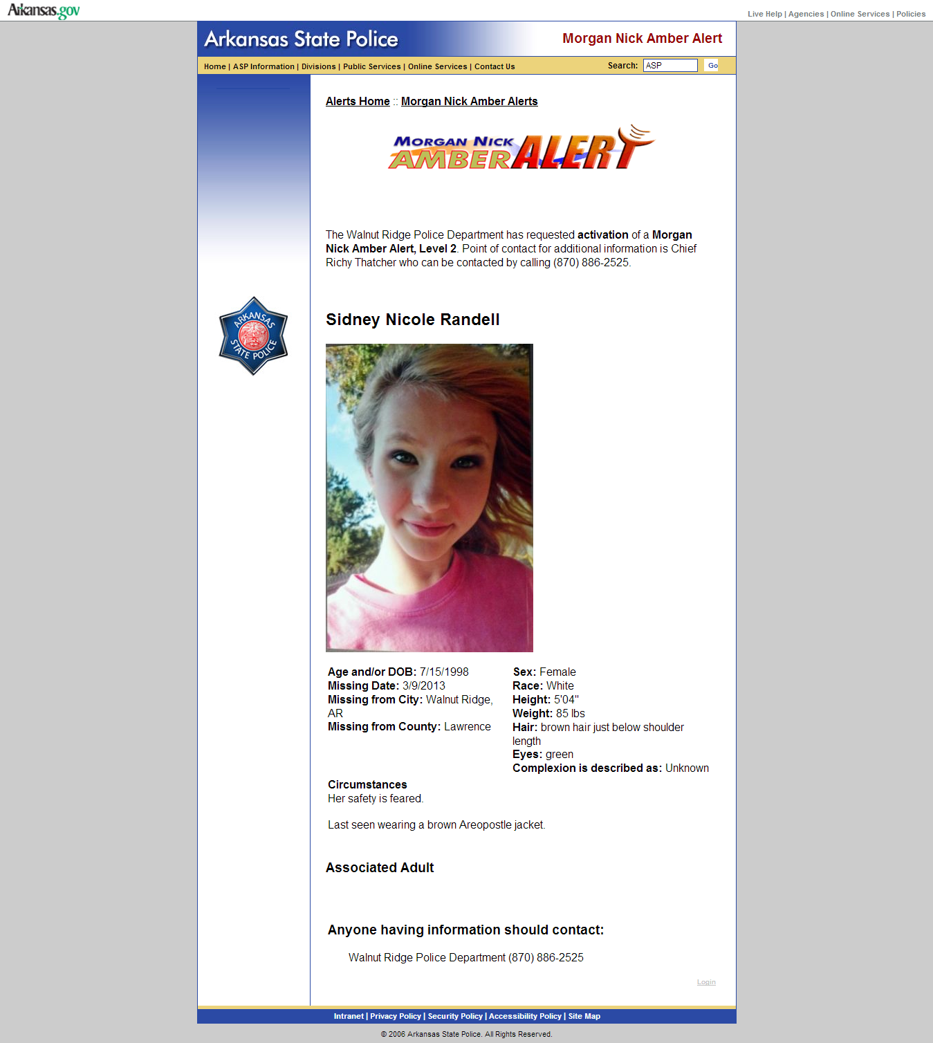 Arkansas Amber Alert 3 11 13 Amber Alert Missing And Exploited Children State Police