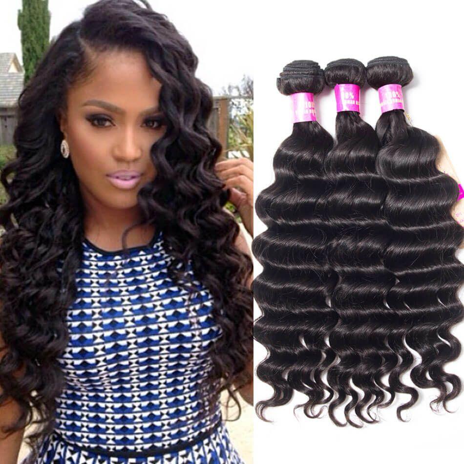 Peruvian Loose Deep 3 Bundles Weave Hairstyles Deep Wave Weave Hairstyles Deep Wave Weave