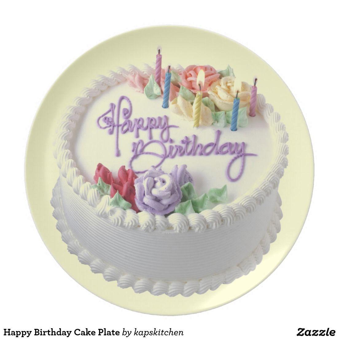 Stupendous Happy Birthday Cake Plate Zazzle Com Happy Birthday Cakes Birthday Cards Printable Trancafe Filternl