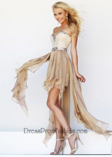 Nude Strapless Sparkly Sequined Flirty Hi-Lo Prom Dress
