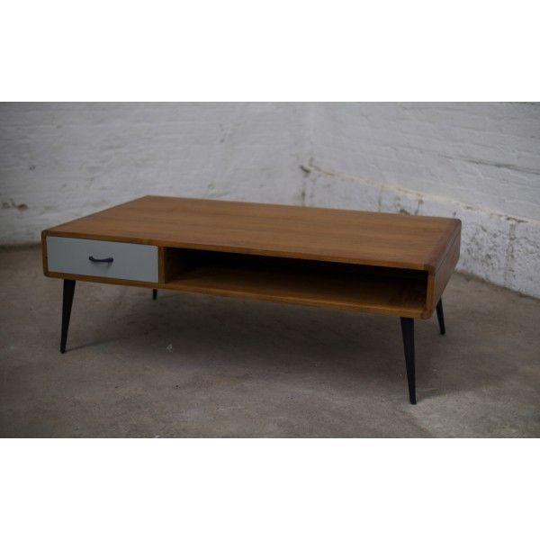 Sofabord med skuffe og hylde