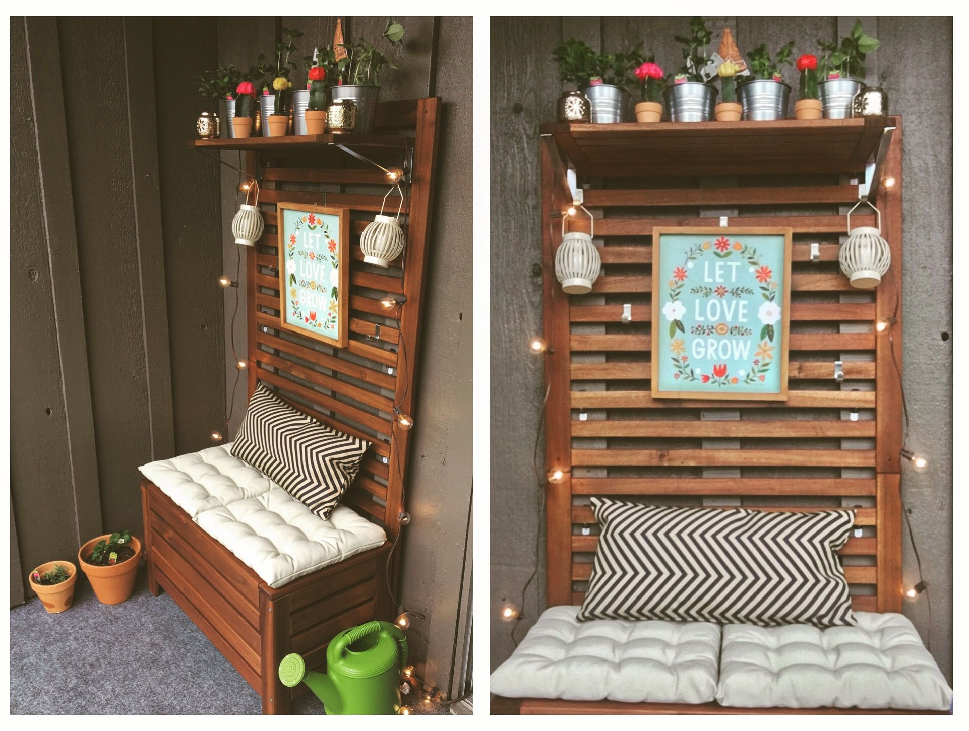My Cutesy Patio Project Using The ÄPPLARÖ Bench And Wall Panel From IKEA.