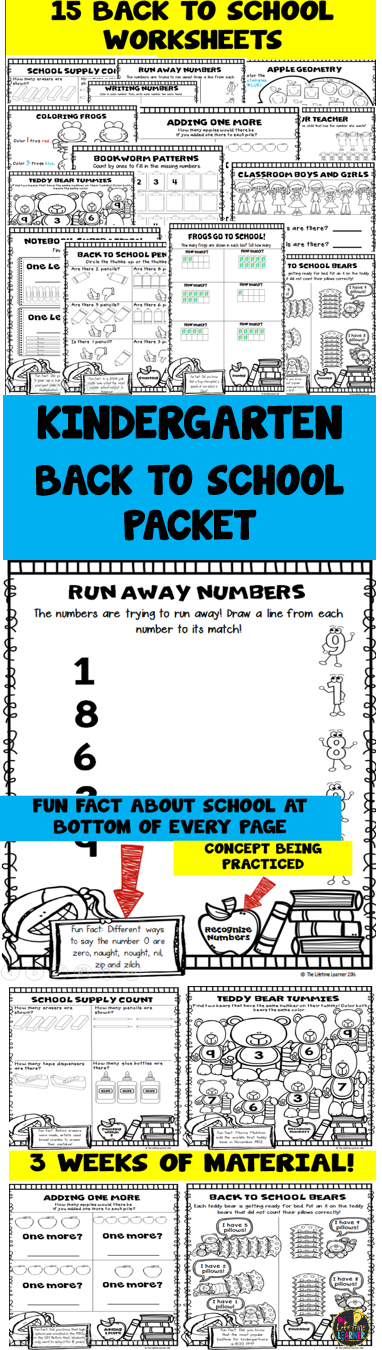 Kindergarten Back to School Math Packet | Pre-school, Maths and Math ...