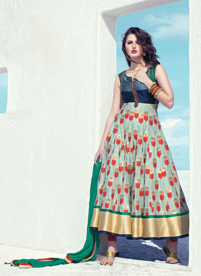 Glorious green cotton anarkali suit anarkalis pinterest cotton