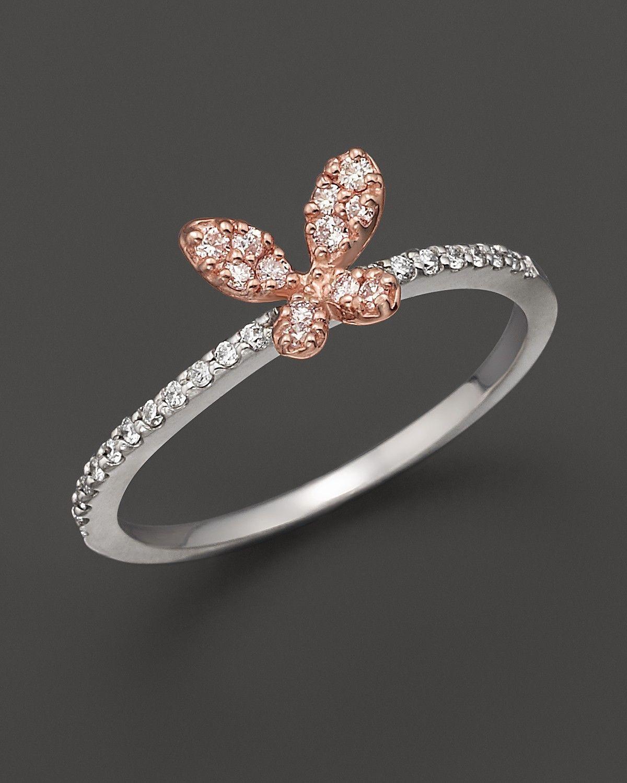 Diamond butterfly ring set in 14K rose & white gold, 0.20