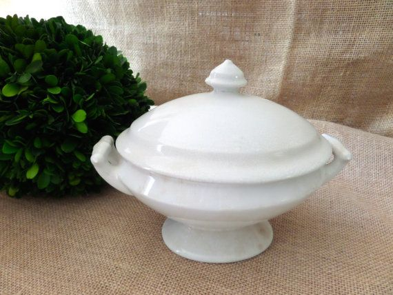 J & G Meakin 1869 Antique White Ironstone Small by BellaChicDecor