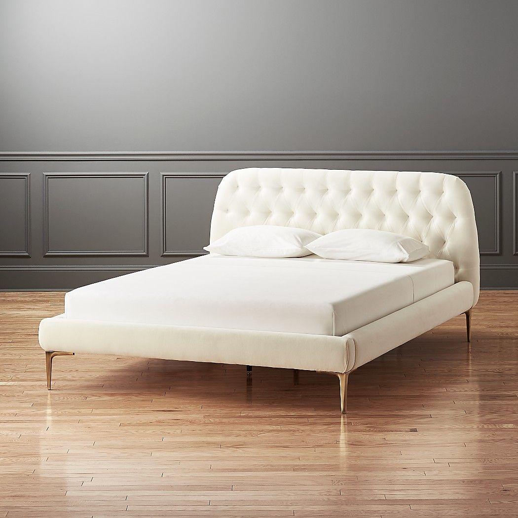 Best Seraphina White Velvet Bed Cb2 Bed Frame And Headboard 640 x 480