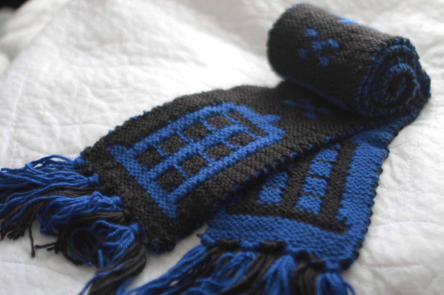 Doctor Who TARDIS scarf Hand Knit Black and Blue by alienantidote ...