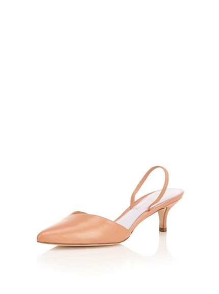 8f1405fbc5b Delman Shoes Siena Kitten-Heel Slingback $99   Shoes shoes and more ...