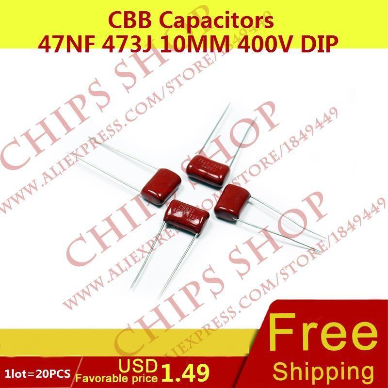 1lot 20pcs Cbb Capacitors 47nf 473j 10mm 400v Dip 47000pf 0 047uf Resistors Chips Capacitors