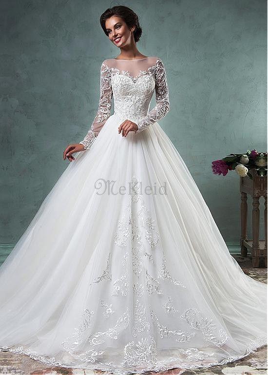 Vintage A-linien Langärmelig Brautkleid mit Perlen Verziert - Bild 1 ...