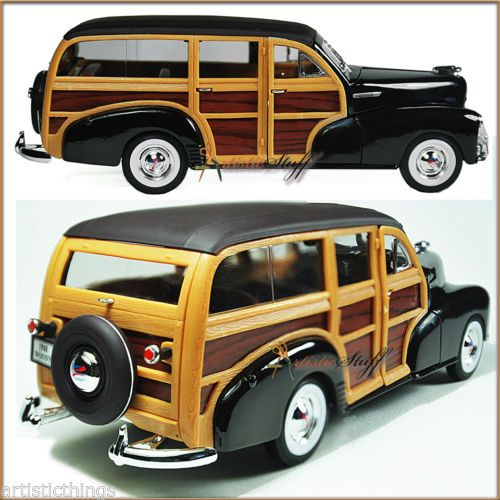 WELLY-1948-CHEVROLET-WOODY-WAGON-FLEETMASTER-BROWN-NEW-1-24-DIECAST-MODEL