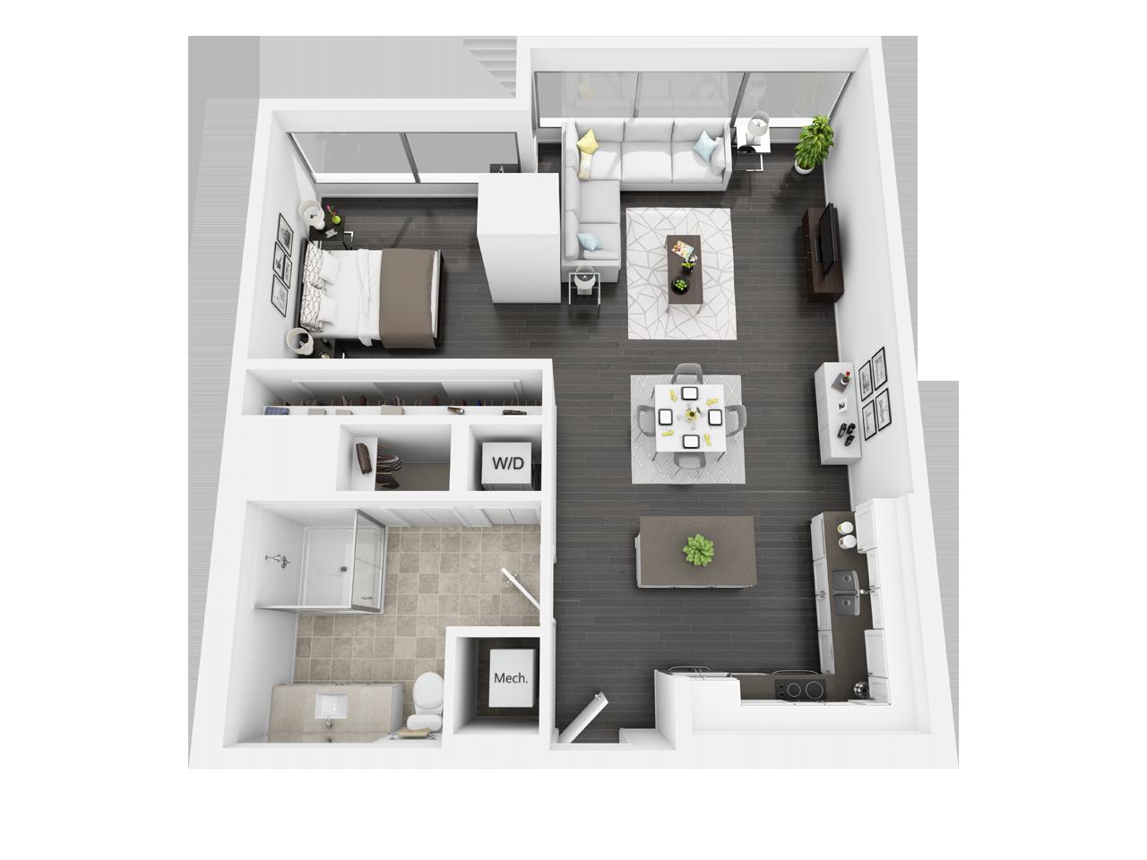 E3 1 Bedroom 1 Bath Floor Plan In 2020 Loft Apartment Dream Apartment Floor Plans