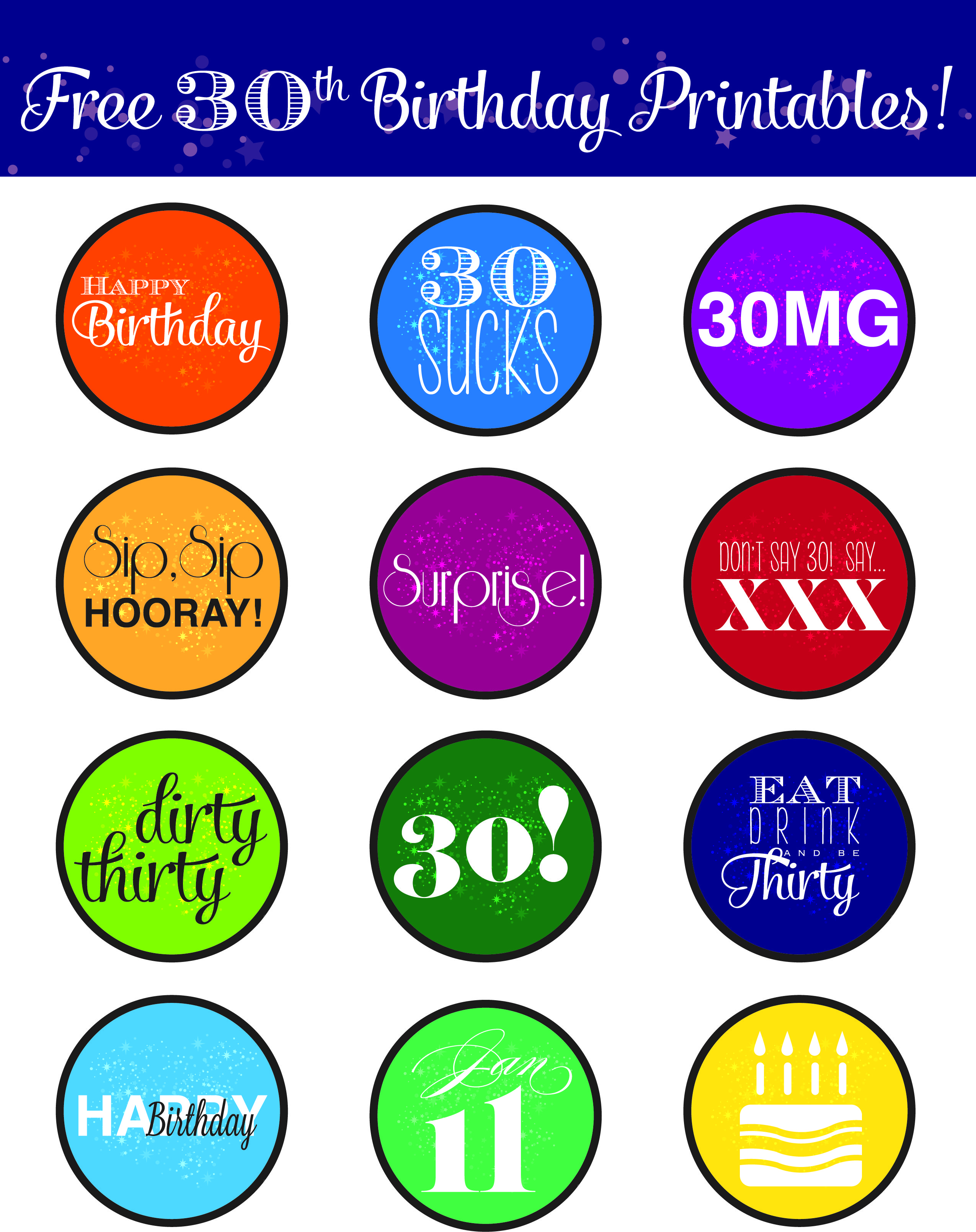 Free 30Th Birthday Printables (Print Them Out And Tape Them