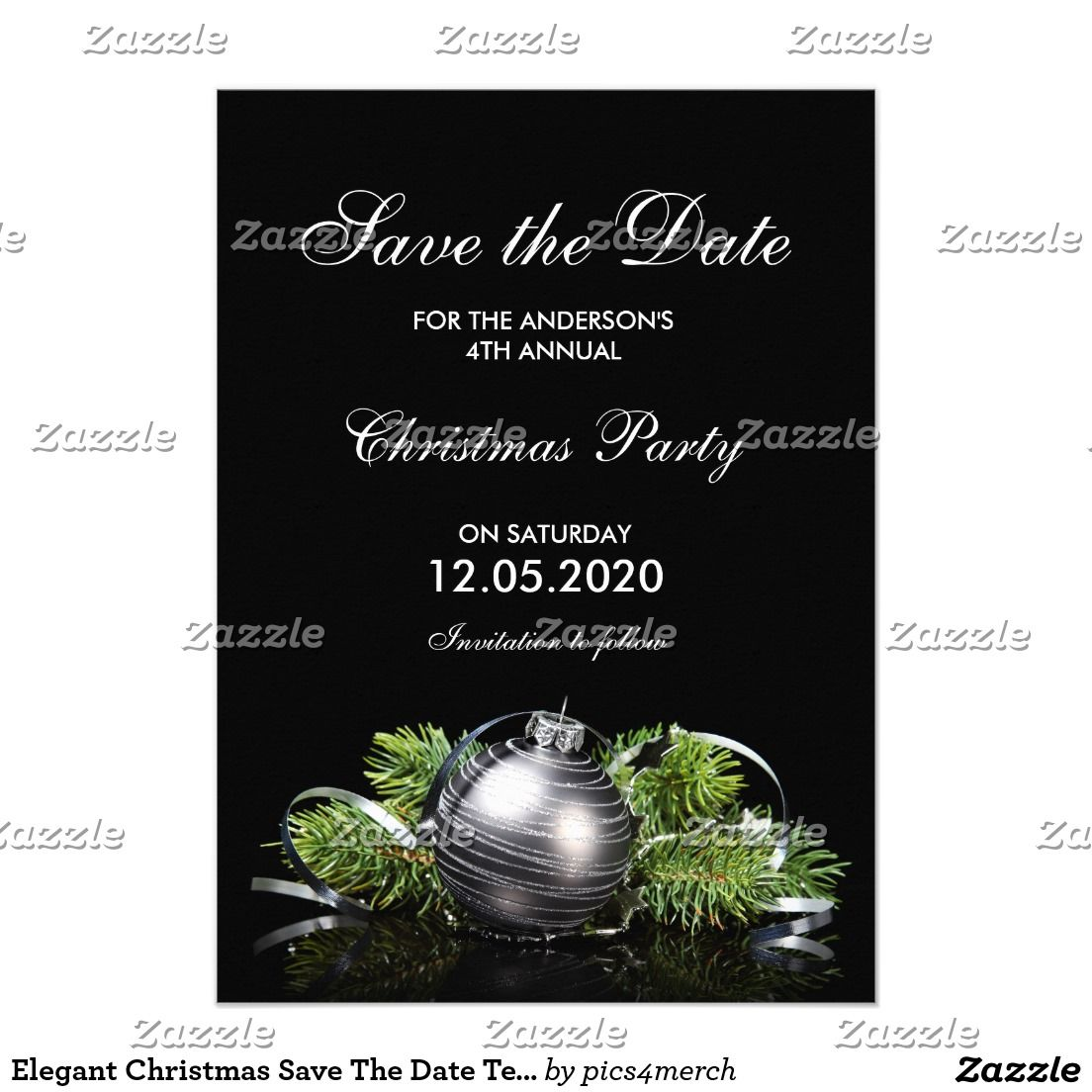 Elegant Christmas Save The Date Template Card