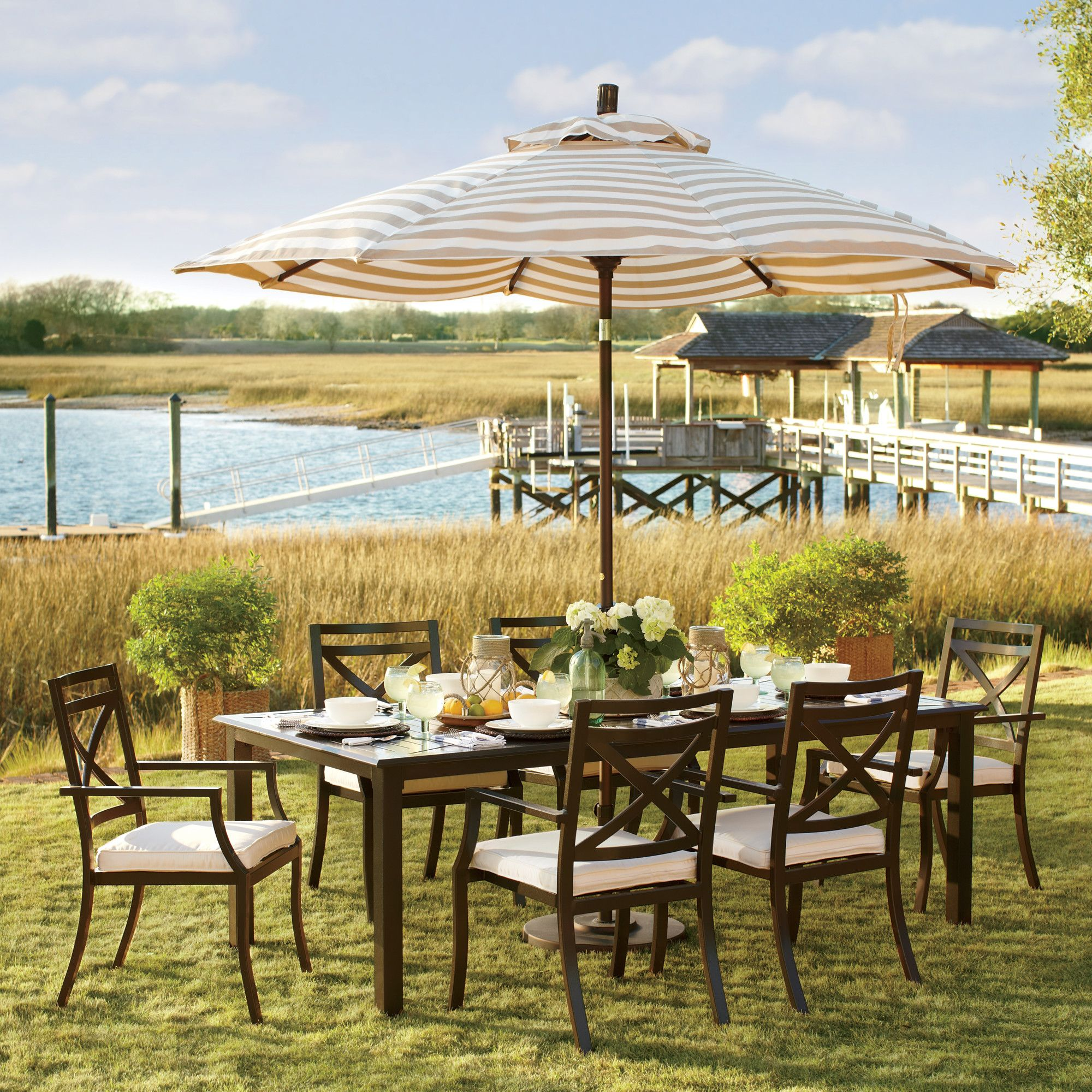 Endicott Rectangular Dining Table Outdoor Decor Patio Umbrella