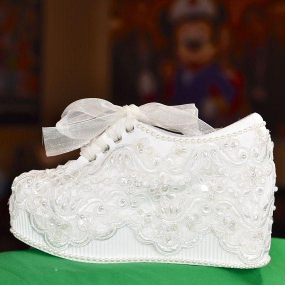 White Platform Wedge High Heel