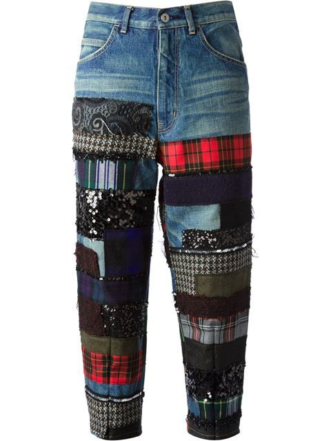 Shop Junya Watanabe Comme Des Garçons Patchwork Cropped Jeans In From The World S Best Indepen Denim Jeans Recycled Printed Leggings Winter Patched Denim Jeans