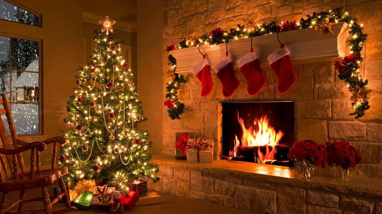 Fireplace Christmas Music.Christmas Scene Christmas Fireplace Christmas Tree