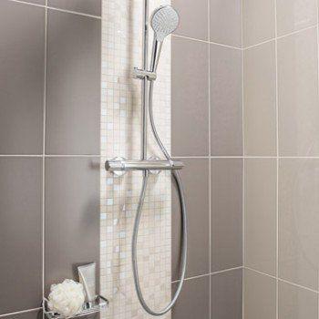 Mosaïque mur Loft blanc lin n°1 | Leroy Merlin | salle de bain ...