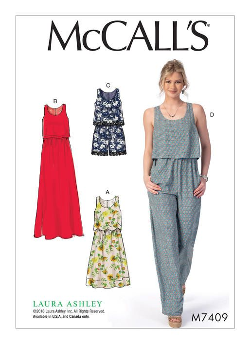 McCall\'s 7409 Misses\' Overlay-Bodice Dresses, Romper and Jumpsuit ...