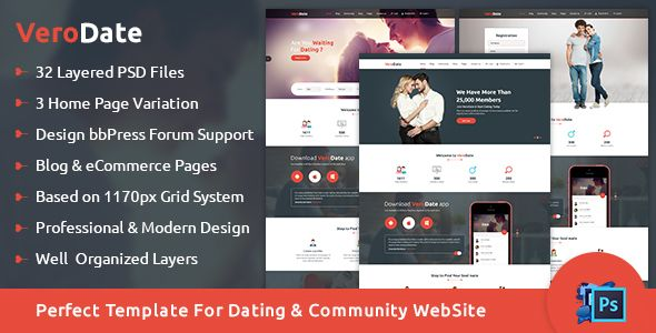 cool VeroDate - Dating Social Network Internet site PSD Template ...