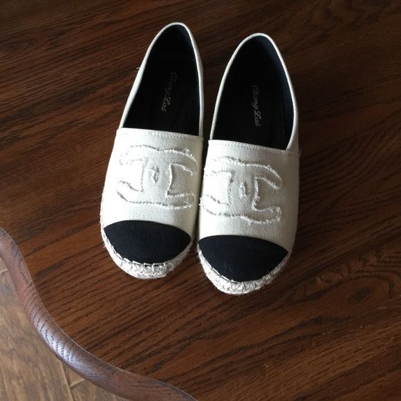 """Canvas flats White canvas flats with black toe, and cute rope 1/2"""" platform Shoes Espadrilles"""